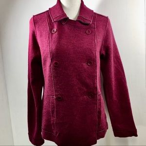 Eileen Fisher Burgundy Merino Wool Blend Jacket S